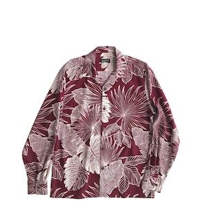 Mountain 長袖オープンアロハシャツ / Leaves  / マルーン  残り僅か