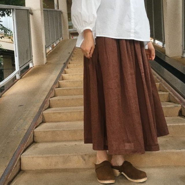 ICHI (イチ) ボリュームギャザースカート ブラウン