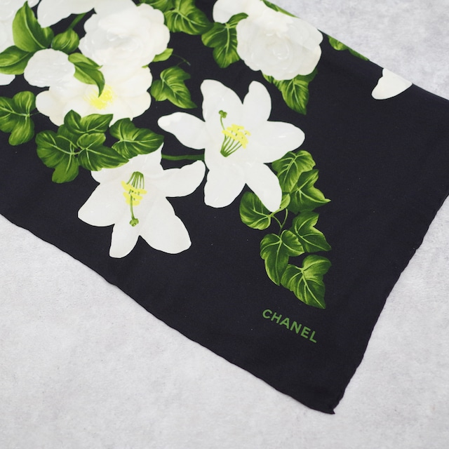 CHANEL シャネル スカーフ ブラック シルク アクセサリー