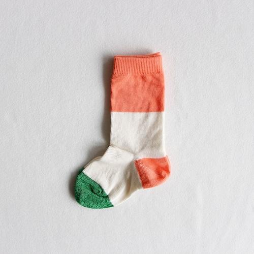 《suis moi》3 tone regular socks / white × orange / 4-10Y