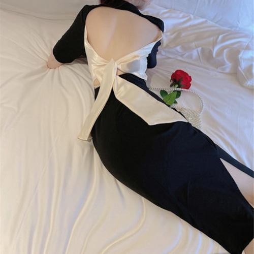 バックリボンワンピース ドレス 大人 きれい セクシー 背中 スリット スリム 上品 色気 20代 30代 夏 リボン パーティー 婚活 ma036