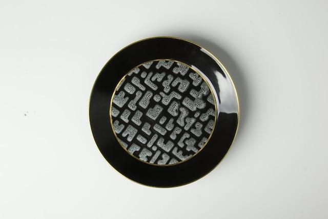 見込斑紋渕金黒釉皿 清水焼