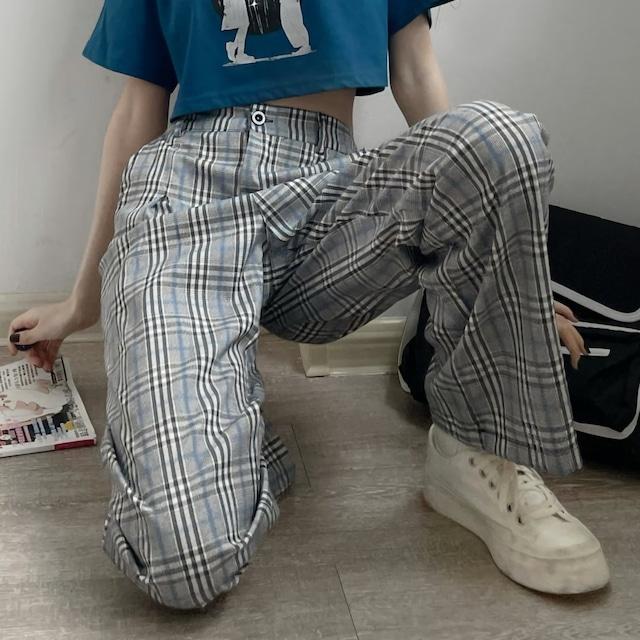 薄手チェックストレートパンツ(全2色) / HWG463