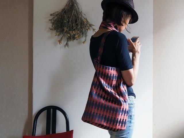 【選べる2サイズ】大きすぎないおしゃれなエコバッグ チャコール×レンガ色の着物コートからのリメイク