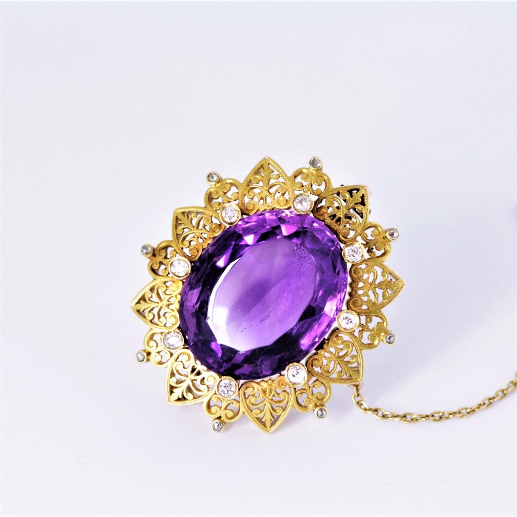 Siberian Amethyst & Diamond Gold Brooch  シベリア産 アメジスト & ダイヤモンド ゴールドブローチ
