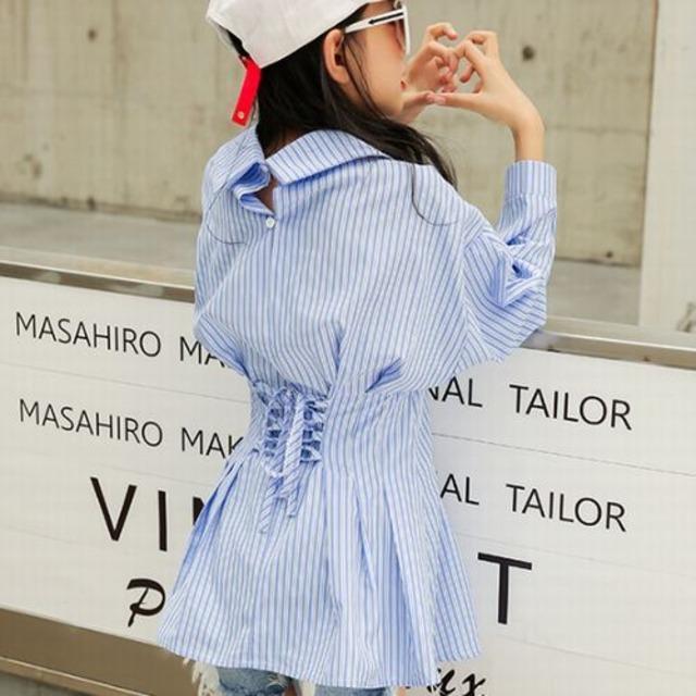 120~160cm S/M★ バック リボン デザイン ストライプ シャツ チュニック ワンピ