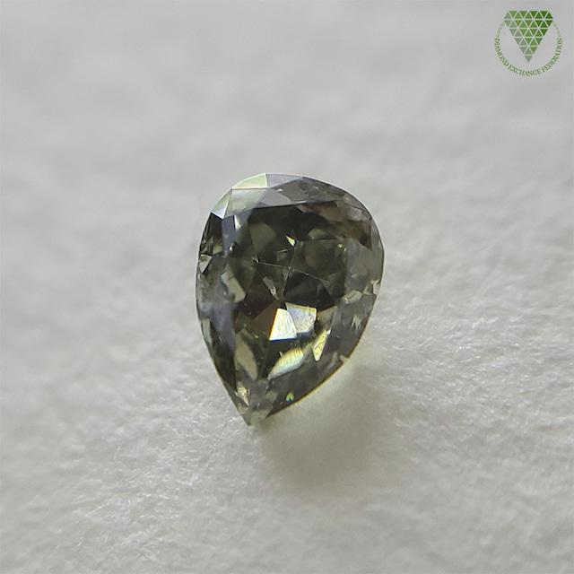 0.26 ct Fancy Dark Gray Yellowish Green I2 GIA 天然 グレー  グリーン ダイヤモンド ルース ペアシェイプ