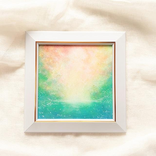 朝の光と共に 原画 風水画 20cm角パステルアート
