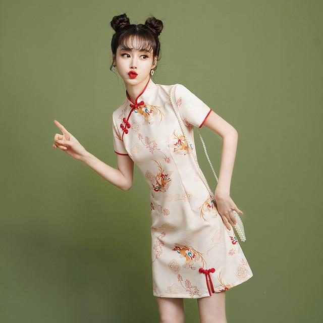 【XIANGSHUシリーズ】★チャイナドレス★ ショート丈 着痩せ パーティー 結婚式 大きいサイズ 気質アップ