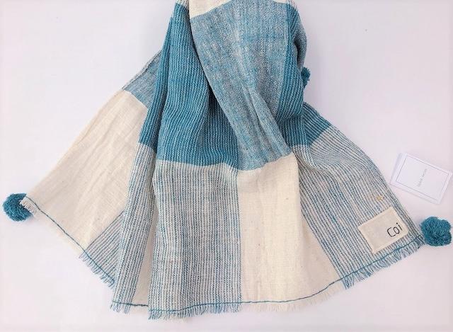 【Coi】草木染 長方形ショール 青