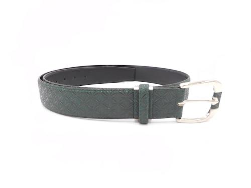 紳士ベルト(40mm幅)深緑/黒 麻の葉柄