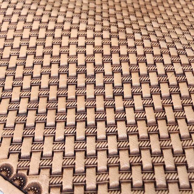 財布 長財布 ロングウォレット バスケットスタンプ レザーカービング 手縫い イタリアンレザー ヌメ革 バイカーズウォレット 日本製 LW-BKS LEVEL7