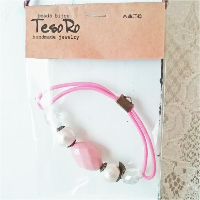 TesoRo:ヘアゴムピンク  葉(小さなチャーム) 手首に付けても可愛い♪