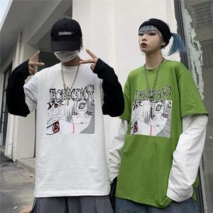 【トップス】ストリート系長袖切り替えカートゥーンラウンドネックプルオーバーTシャツ42914079