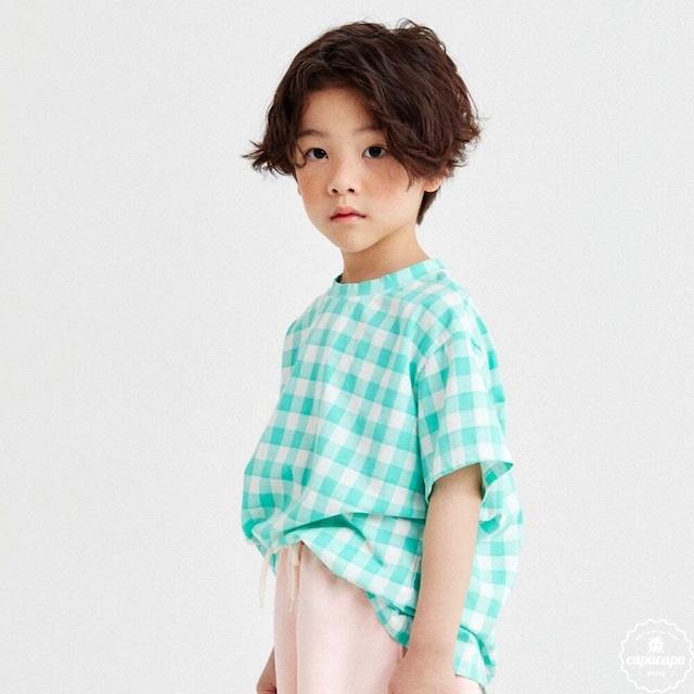 «即納» gingham check tops 2colors ギンガムチェックTシャツ