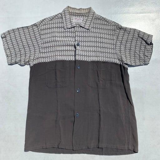 60's Shaply 切り替えオープンカラーシャツ ボックスシャツ コットン ホワイト グレー 白 墨黒 Mサイズ 希少 ヴィンテージ BA-992 RM1361H