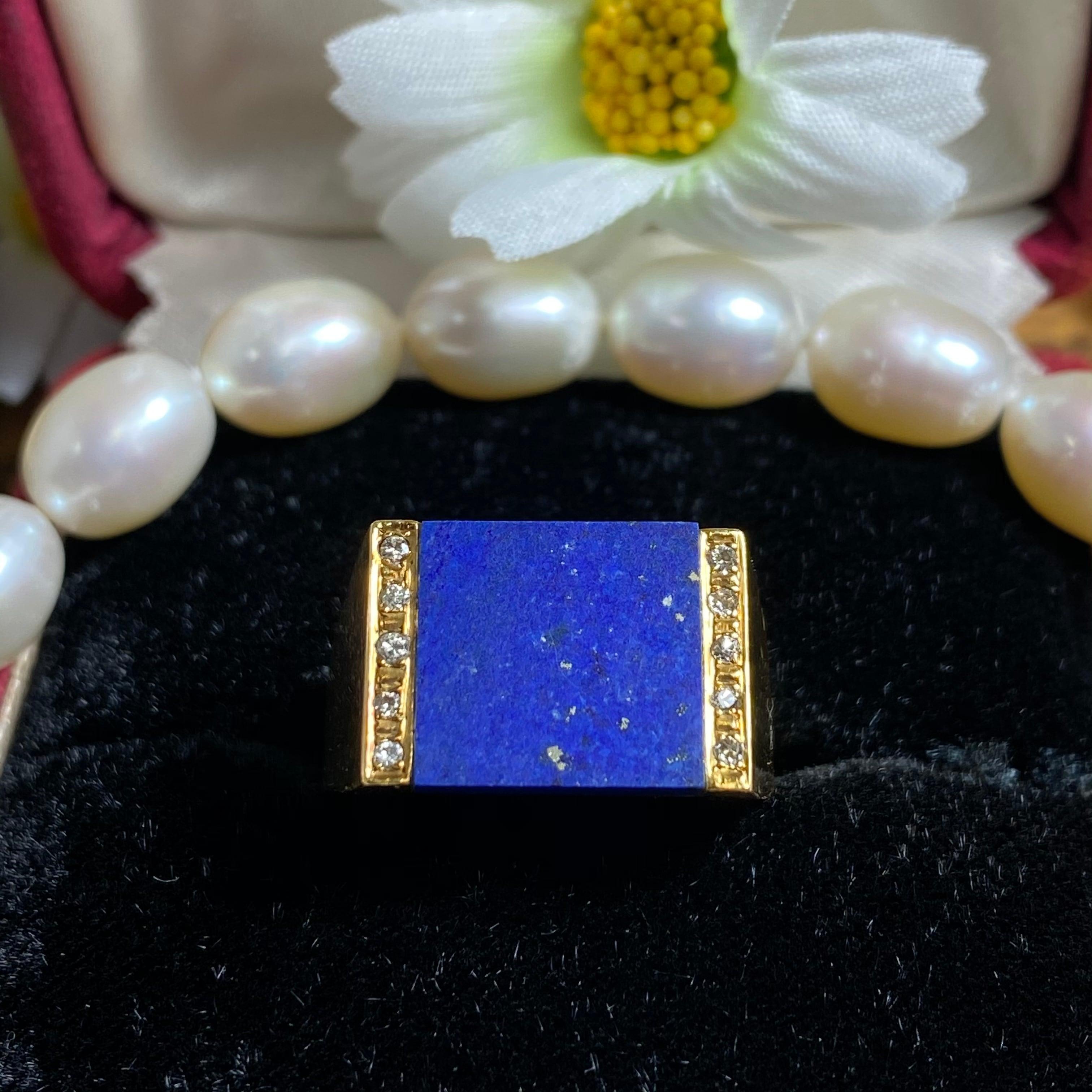 ★星の王子様のような美しき世界観★ヴィンテージ リング★18金ラピス&ダイヤモンド