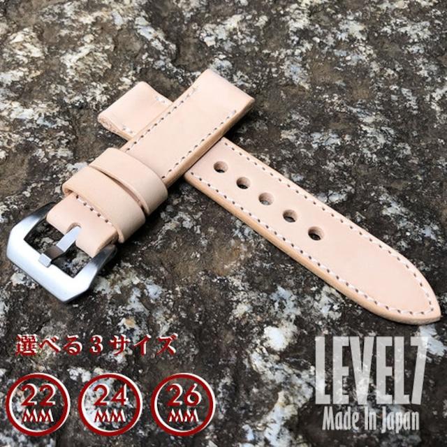 【ラグ幅:22MM/24MM/26MM対応】パネライ スタイル ナチュラル イタリアンレザー ヌメ革 レザーベルト 腕時計 替えベルト SP-H002-S LEVEL7