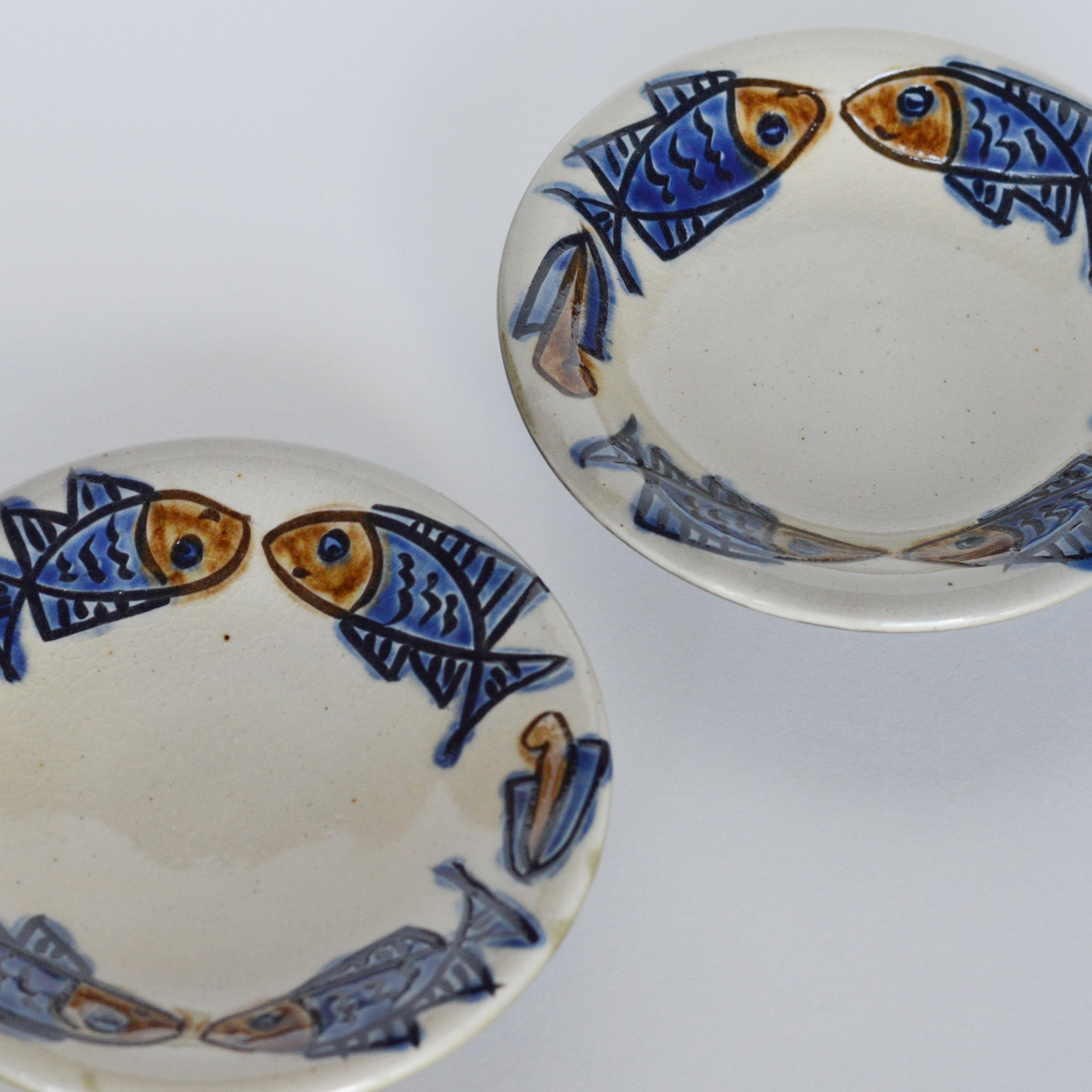 5寸皿  魚紋コバルト  ノモ陶器製作所