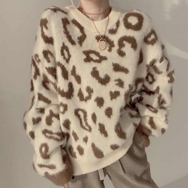 【トップス】全4色 大人 カジュアル ファッション 冬 ヒョウ柄 ラウンドネック レオパード 柄 セーター-2-53942718