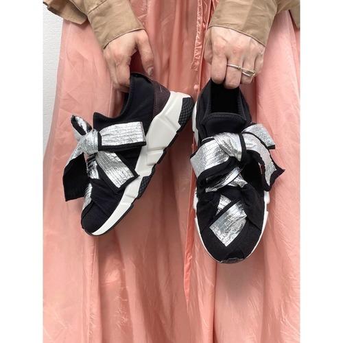 【RehersalL】metallic ribbon sneakers (silver)/【リハーズオール】メタリックリボンスニーカー(シルバー)