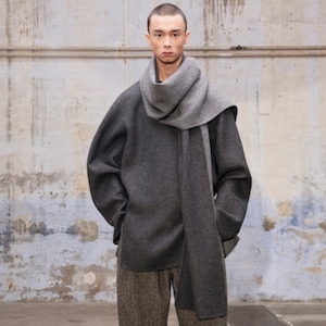 HED MAYNER - SCARF COLLAR SHIRT- AW21_S53_GRY WO - GREY FLANNEL