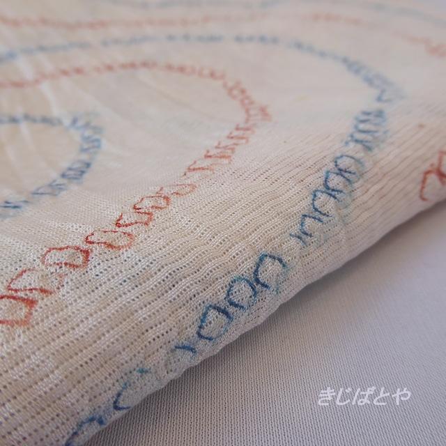 正絹紬 白地に織り模様のなごや