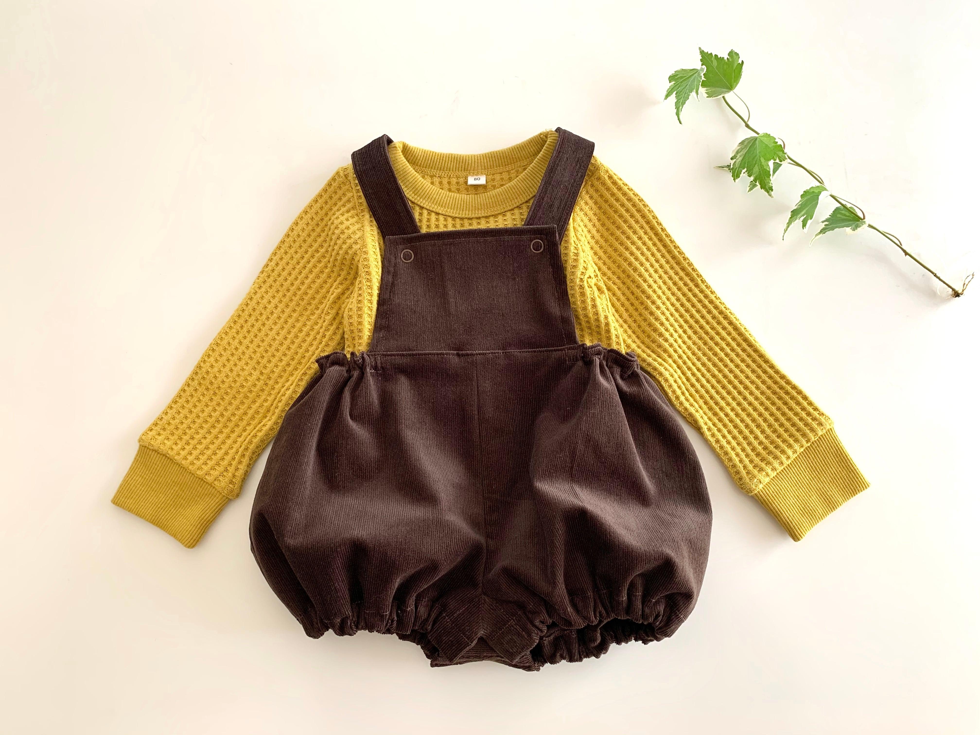 サロペット・コーデュロイこげ茶色 80cm~