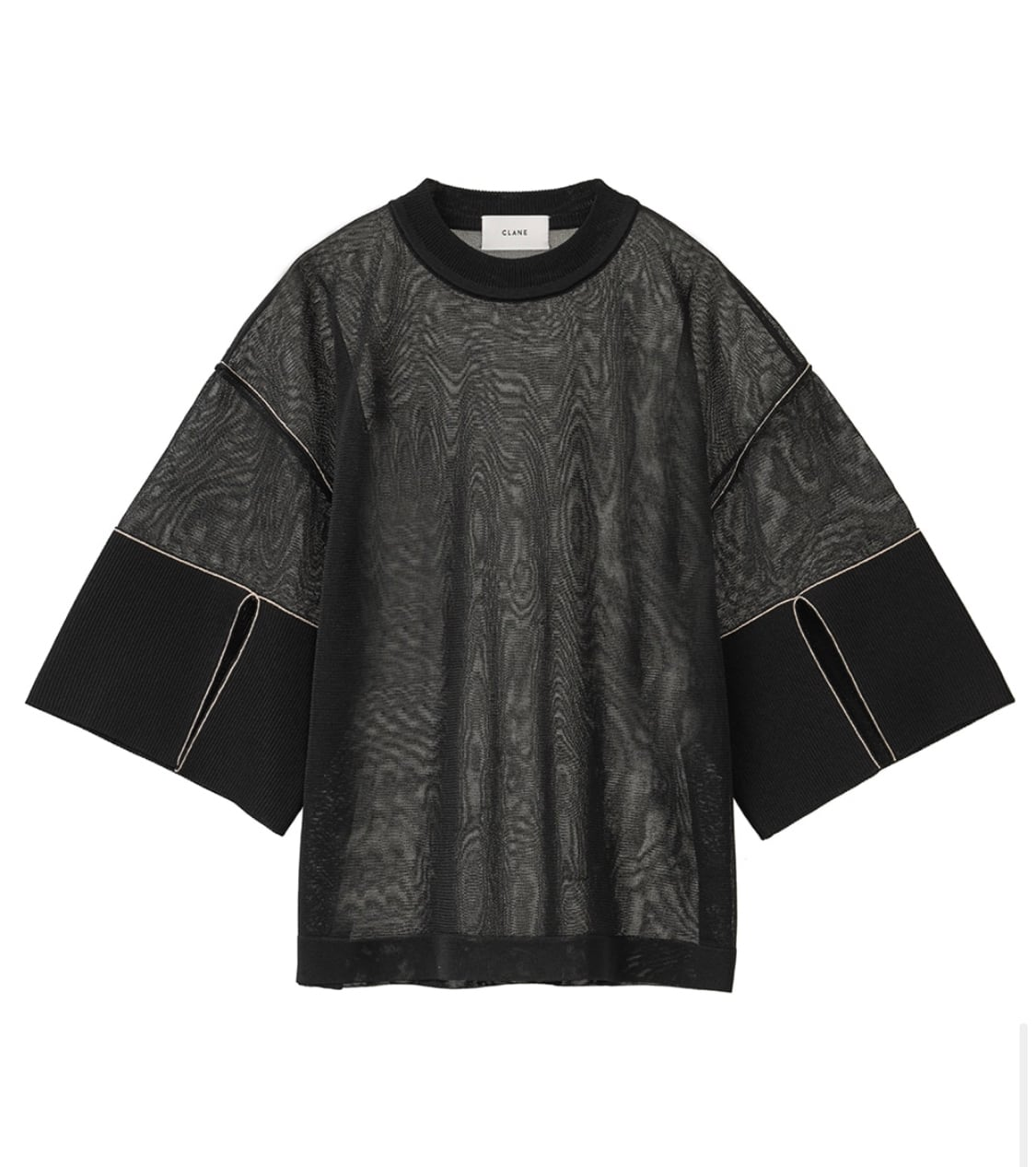 CLANE  SEE-THROUGH LINE KNIT TOPS