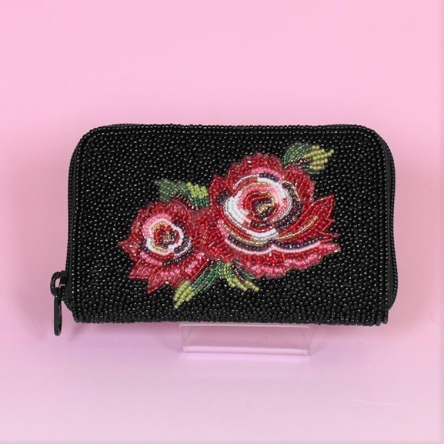 ラウンド小財布099 バラ ビーズ刺繍