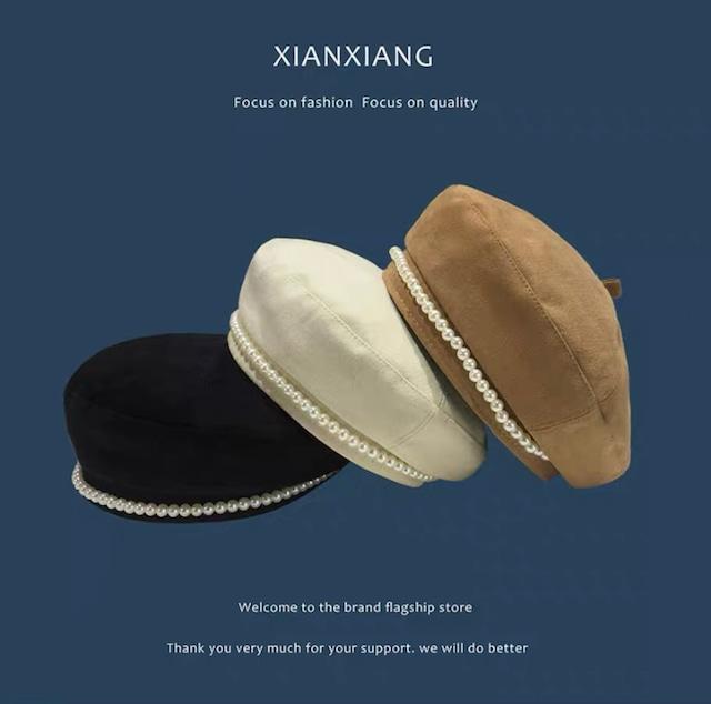 pearl béret hat 3color