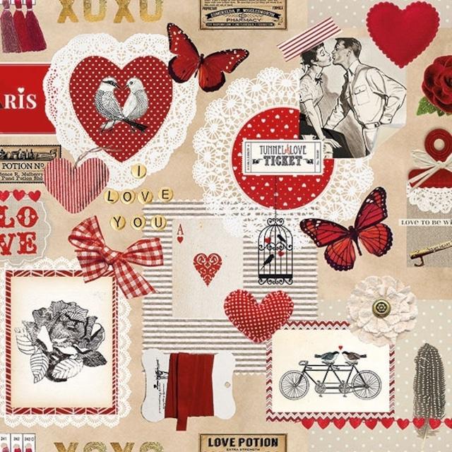 【Ambiente】バラ売り2枚 ランチサイズ ペーパーナプキン Love Ticket レッド