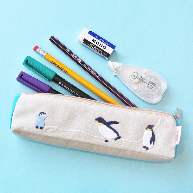 《鳥/ペンギン》 ペンケース ペンギン親子 ポーチ ハンドメイド 手刺繍