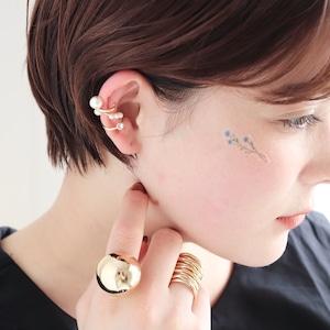 EAR CUFF || 【通常商品】 PEARL & STONE 3 EAR CUFF SET || 1 EAR CUFF || GOLD×WHITE || FBB065