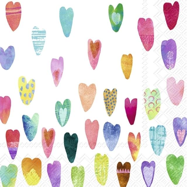 【IHR】バラ売り2枚 カクテルサイズ ペーパーナプキン RAINBOW HEARTS ホワイト