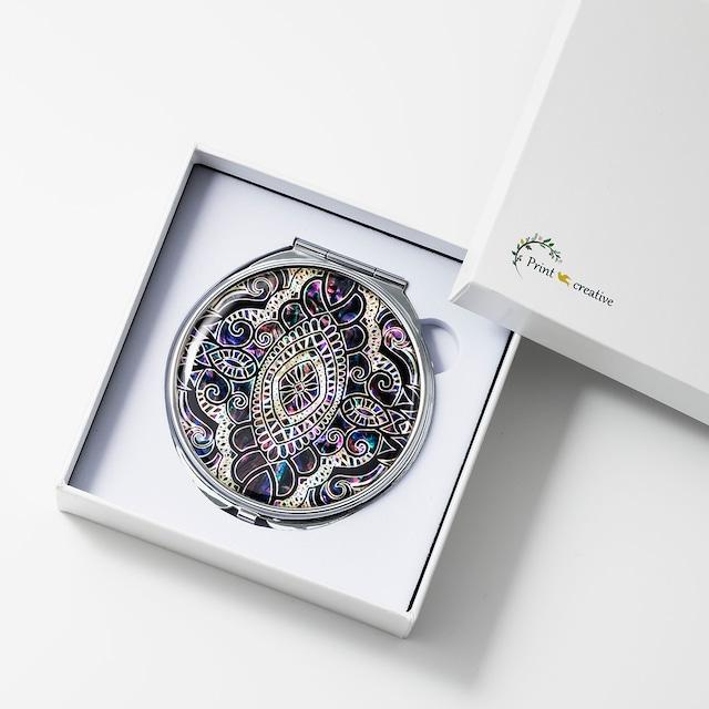 天然貝 コンパクトミラー(エイシェントイスタンブール・ヴァイオレット)|螺鈿アート|プレゼント・ギフトにおすすめ