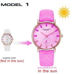 新モデル クリエイティブウォッチ それは太陽の下で色を変えるファッション女性の腕時計UV防水カラフルな時計White to Magenta