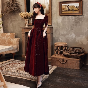 イブニングドレス 赤 レッド スクエアネック カラードレス ロングドレス 結婚式二次会 発表会 披露宴 演奏会 大きいサイズ  小さいサイズ 8019