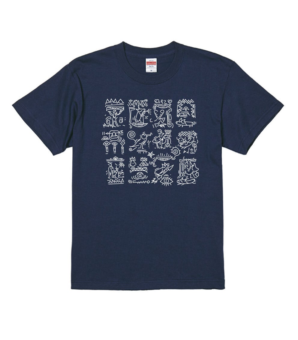 No.2021-Autumn-TS-012 :  2021秋の新デザイン コーギーの象形文字Tシャツ5.6oz
