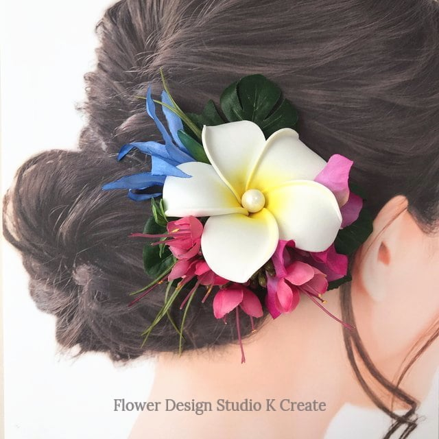 白いプルメリアとピンクのブーゲンビリアのヘアクリップ 髪飾り トロピカルフラワー 南国 フラ フラダンス