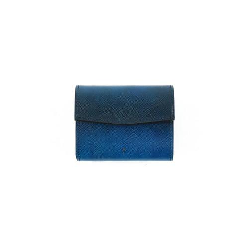 青い三つ折りの財布-YEV191