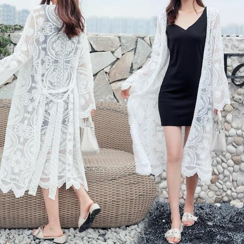 サマーカーディガン エスニックスタイル 韓国ファッション レディース レース ウエストリボン ロング丈 (DCT-587061384655)