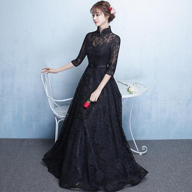 パーティードレス 成人式 チャイナ風ドレス ロングワンピース 改良型チャイナドレス スタンドネック 七分袖 ロング丈ORマキシ丈 着痩せ 大きいサイズ S M L LL 3L レース 透かし彫り ブラック 黒い