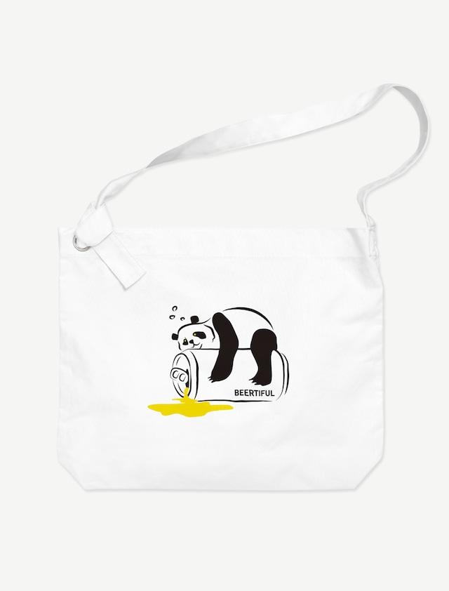 【ほろ酔いパンダ】ビッグショルダーバッグ(ホワイト)