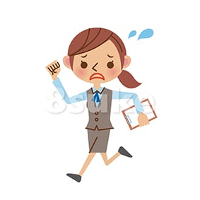 イラスト素材:慌てた様子で走るOL・事務職の女性(ベクター・JPG)