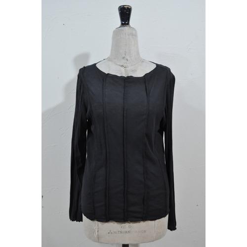 【RehersalL】pin tuck tereko long T (boat neck)black /【リハーズオール】ピンタックテレコロンT(ボートネック)ブラック