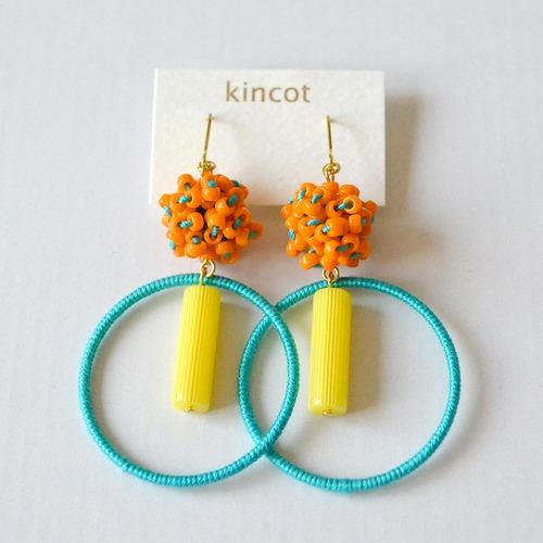 kincot サーカスピアス(オレンジ×ブルーグリーン)