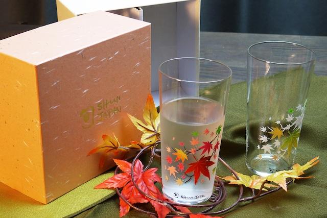 【cm-04s】『冷感紅葉』『タンブラーグラス ペアセット』*贈り物 記念日 温度で変化 不思議な マジック ソフトドリンク アイスコーヒー ビール ハイボール 乾杯 ギフト プレゼント 秋 お祝い