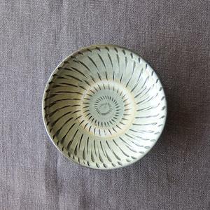 小鹿田焼 坂本工窯 - 4寸皿 - 飛び鉋 (白)