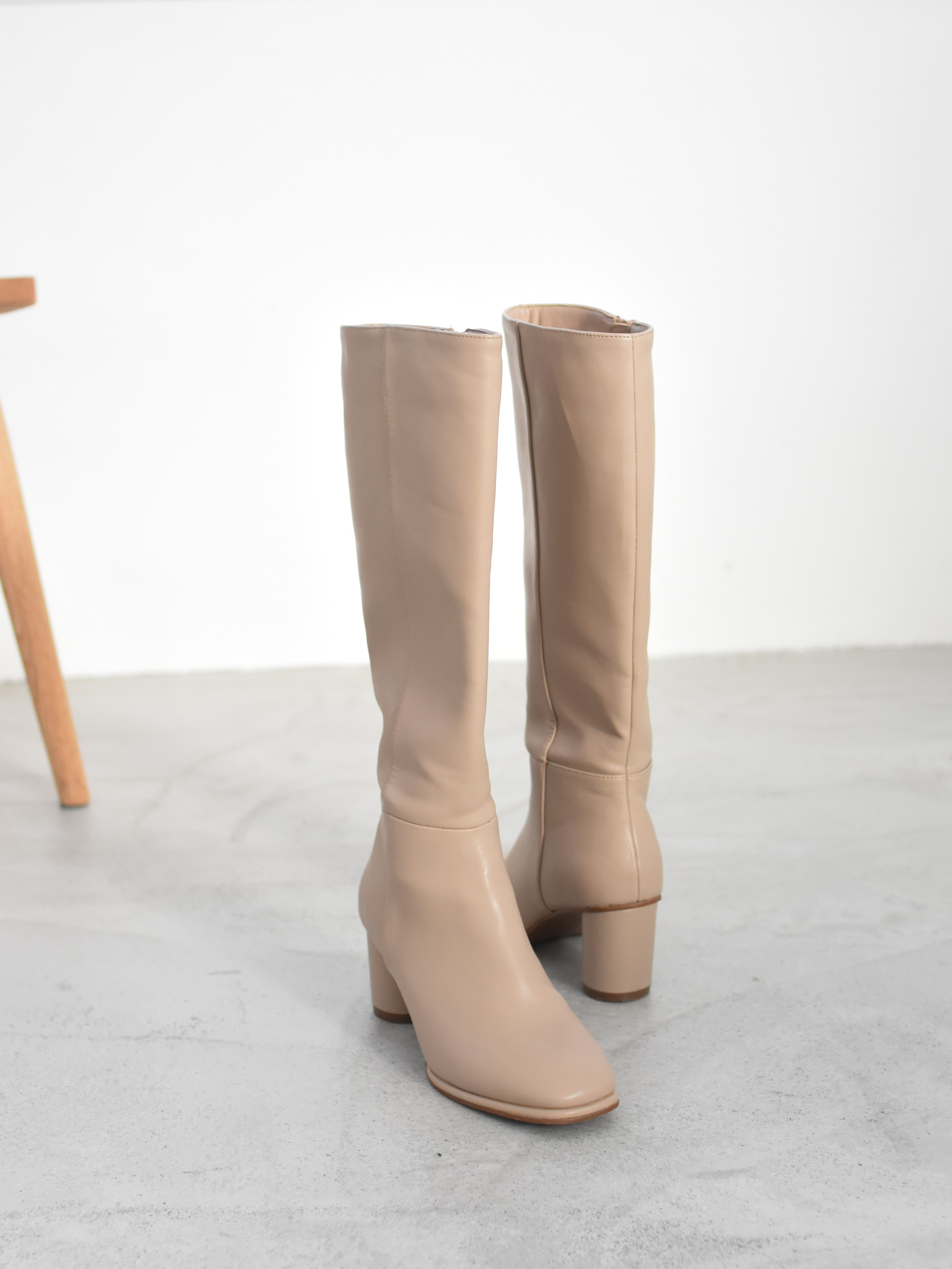 square toe long boots(greige)